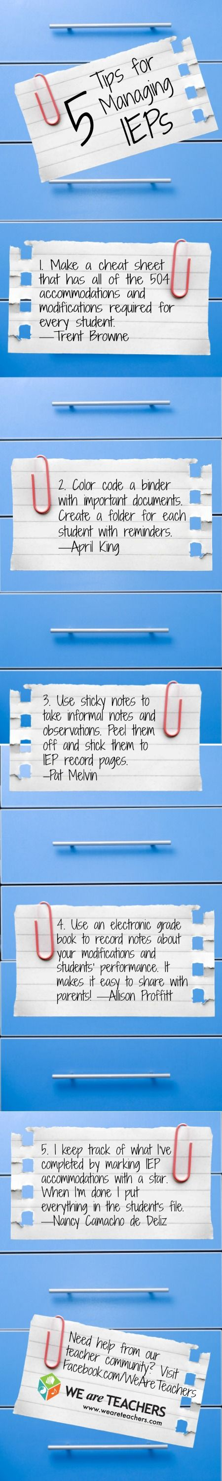 5 Tips for Managing IEPs #weareteachers.... Not my favorite part about being a school SLP...maybe this will help
