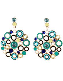 Green Circle Hollow Earrings US$3.99