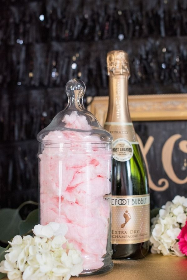Champagne and cotton candy is a fun combo for your bachelorette party!