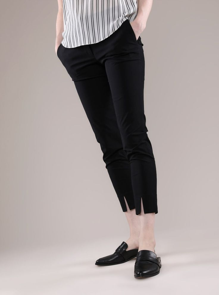 The military vibe of Chinese Cotton Twill let's you know that the Tapered Pants are hard working, respond well to clear instructions and hold it ALL together in difficult circumstances.  Crafted from 54% Viscose, 43% Cotton and 3% Elastane Slim fitting silhouette Concealed front finish Slits at bottom hem