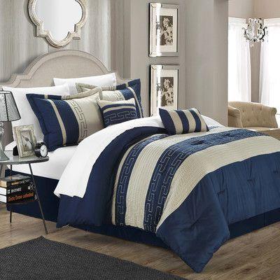 chic home carlton 10 piece comforter set color navy size queen