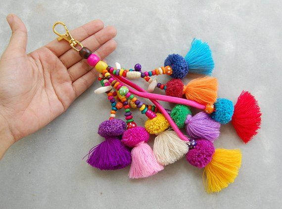 Handmade Pom Pom Tassel Beach Bag Zipper Charm in Mixed Colors
