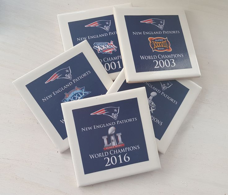 Congrats to the New England Patriots!!!! 2016 Superbowl Champions!! We're adding a 5th coaster to our set!!  New England Patriots Superbowl coasters! We've added another championship to the tally so why not have a complete set of 5 Superbowl coasters to show off your love and support for our hometown team!  Each coaster has one of the 5 championship years with the Superbowl logo along with a cork backing so that they don't scratch your table or bar!