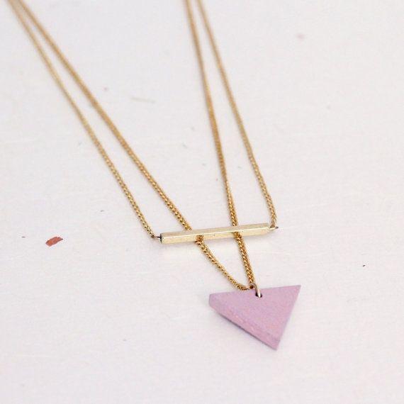 Collar doble triángulo/palito por MITTUEspana en Etsy