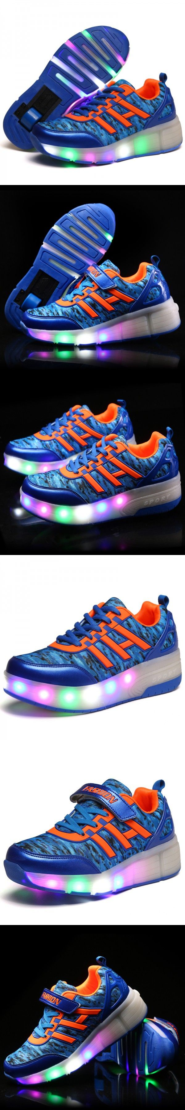 New Fashion Kids Shoes with LED Lights Children Shoes Heelys with Wheels Kids Sneakers with Led Light Up for Boys Girls Blue $29.8