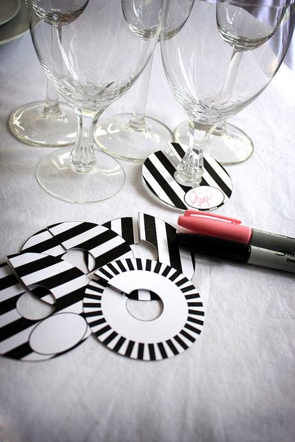 DIY Printable Paper Wine Charm Slipper Tags Black and White Stripe Brigitte Klotzek | Flickr - Photo Sharing!