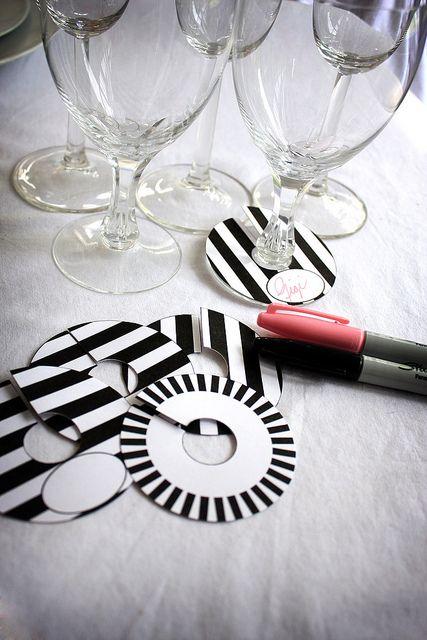 DIY Printable Paper Wine Charm Slipper Tags Black and White Stripe Brigitte Klotzek | Flickr - Photo Sharing!