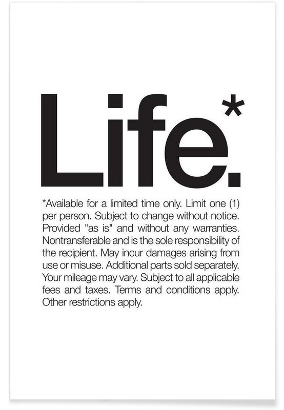 Life* (Black) en Affiche premium par WORDS BRAND™ | JUNIQE