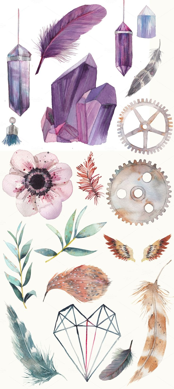 Introducing watercolor Impression set: gem stones, bird feathers, vintage rusty gear wheels, floral elements. Perfect for wedding things, cards, labels, invitations, web, scrapbook, etc!