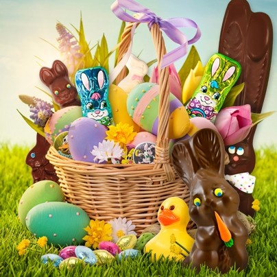An Easter basket filled with all of Easter's favorite candy by Palmer!