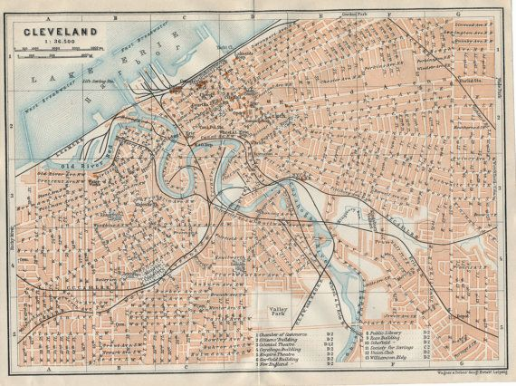 1909 Antique Map of Cleveland Ohio by Figure10 on Etsy