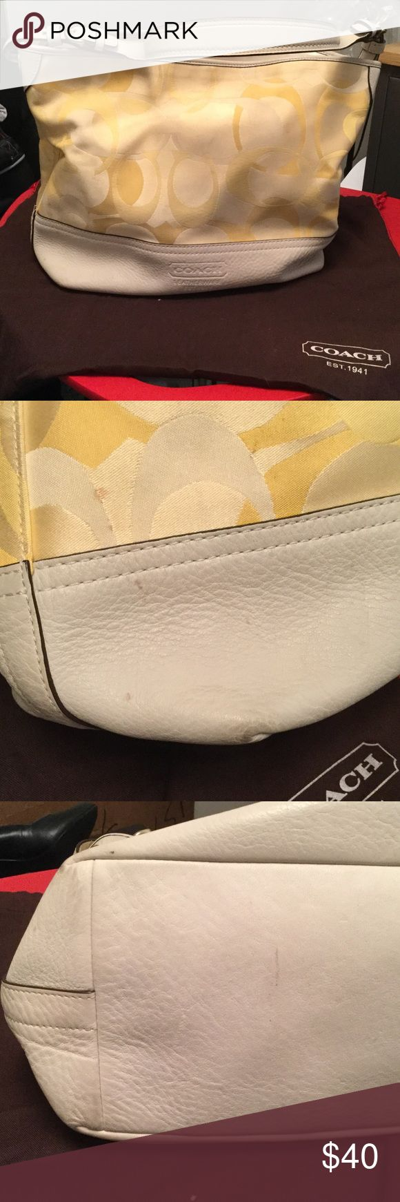 Coach Hobo Bag | Used This cream and light gold Coach hobo bag has leather straps and leather base. There are some spots on it which I've tried to capture in the pictures. It comes with the dust bag. Coach Bags Hobos