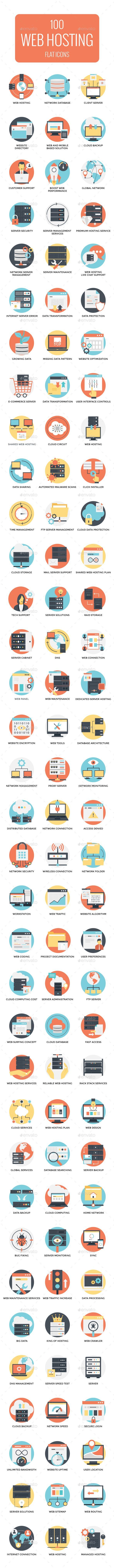 100 Flat Web Hosting Icon — Vector EPS #flat icons #growing data • Available here ➝ https://graphicriver.net/item/100-flat-web-hosting-icon/21001488?ref=rabosch
