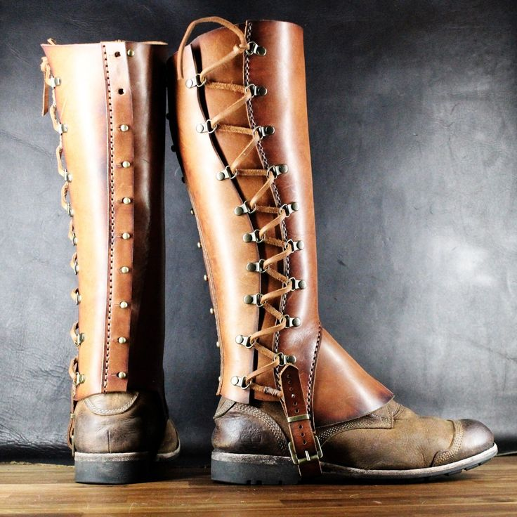 Leather brown gaiters