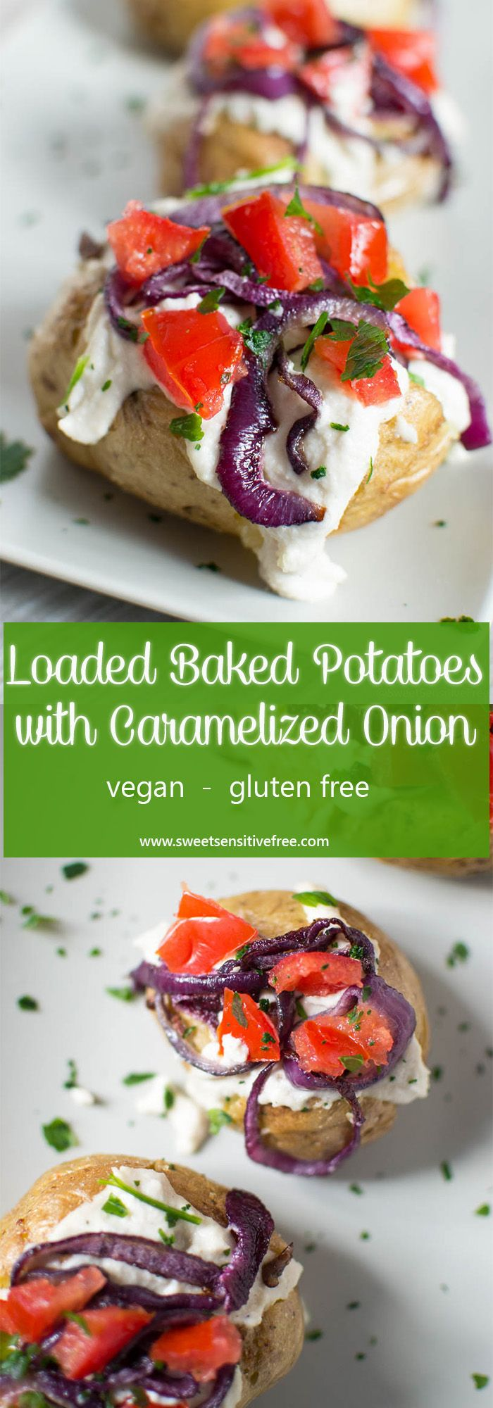 Crispy, comforting, vegan loaded baked potatoes with easy homemade cashew cheese and caramelized red onion on top!  Perfect for a last minute gluten free and vegan dinner!