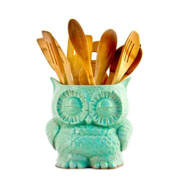 Such a cute idea for storing kitchen utensils. Owl Planter Small