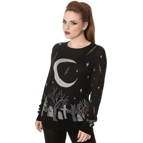 Moon gebreide dames trui met Halloween kerkhof print zwart - Gothic Metal Horror - S - Banned