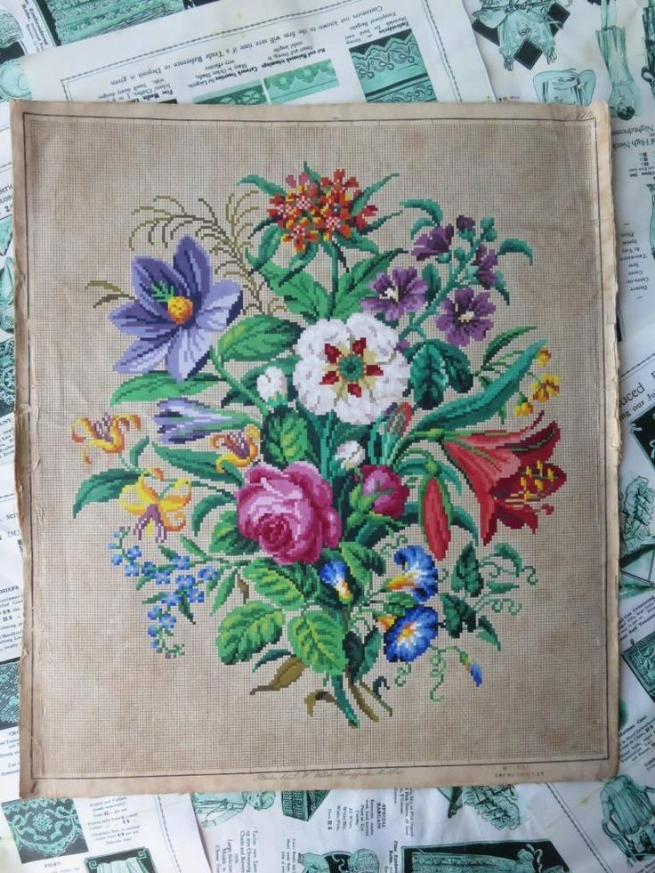 Antique Hand Painted Berlin Woolwork Embroidery Chart- L.W. Wittich- Bouquet | eBay