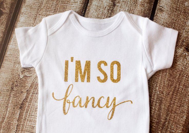 Gold Glitter Onesie, I'm So Fancy, Baby Girl Shirt, Baby Shower Gift, Bodysuit, Glitter Shirt, Baby Girl Onesie, Fancy Shirt,Glitter Shirt by pinkblossomdesignco on Etsy https://www.etsy.com/listing/228398030/gold-glitter-onesie-im-so-fancy-baby