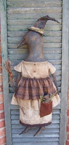 """""""Crow Witch Doll""""  She comes with complete instructions and photo to  price for e=pattern is $10...contact me at thesmilinggoat1@yahoo.com"""