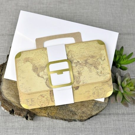 Invitación de boda original maleta con mapa dibujado