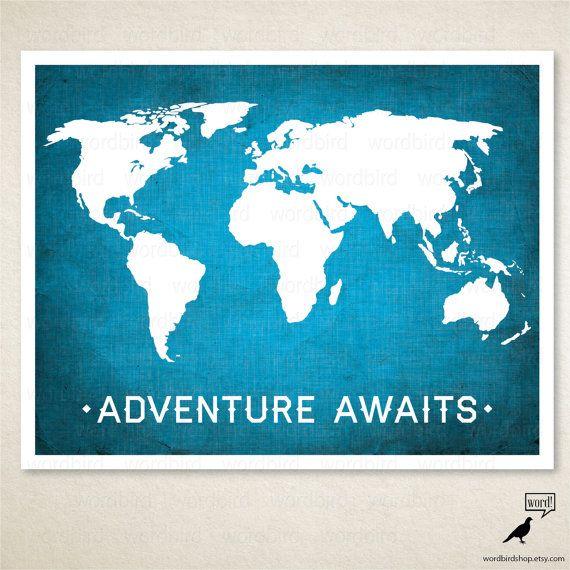 World Map Poster / Boys room wall art / Nursery by WordBirdShop, $13.75