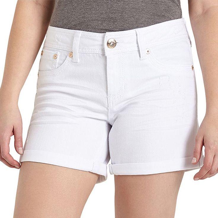 Women's Seven7 White Jean Shorts, Size: