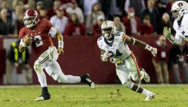 Alabama quarterback Jalen Hurts (2) breaks loose during the second half of Alabama's Iron Bowl football game with Auburn, Saturday, Nov. 26, 2016, at Bryant-Denny Stadium in Tuscaloosa, Ala.  Vasha Hunt/vhunt@al.com Alabama 30 Auburn 12 #IronBowl #Alabama