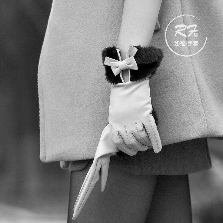 marta de terciopelo hembra guantes de piel de oveja guantes de lujo elegante señoras de seda forro de piel de conejo de cuero genuino guantes de arco