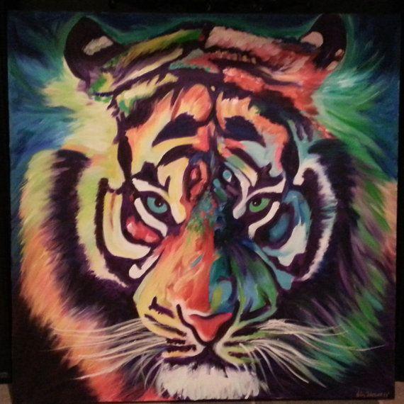 Tigre abstracto original por brittanels en Etsy