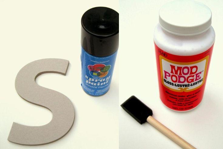 afin de créer un pâle même monogramme, on nécessite une lettre en carton, de la peinture aérosol et de la colle