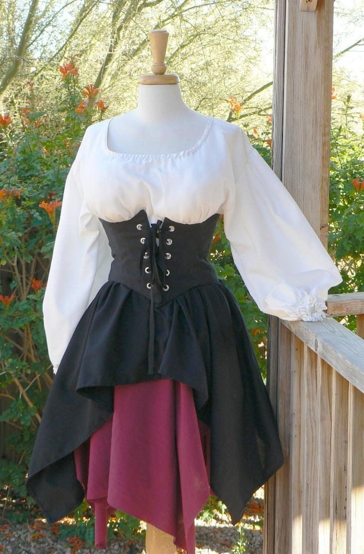 Pirate Dress Renaissance Outfit Waist Cincher Historical Costume Wench. $158.00, via Etsy.