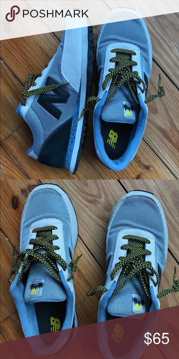 New Balance Running Shoes Different shades of blue with yellow laces. Barely worn still in great condition. Bought from New Balance store. Very comfortable and great quality. New Balance Shoes Sneakers