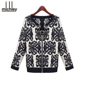 2016 Sweater Cardigan Mulheres Blusa Azul de Porcelana Impresso Cardigans Blusas Cardigan Da Longo-Luva Mulheres Jaqueta Blazer LS239