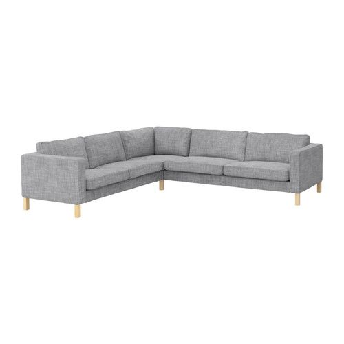 IKEA - KARLSTAD, Corner sofa 2+3/3+2, Isunda grey, , A range of coordinated covers makes it easy for you to give your furniture a new $1399