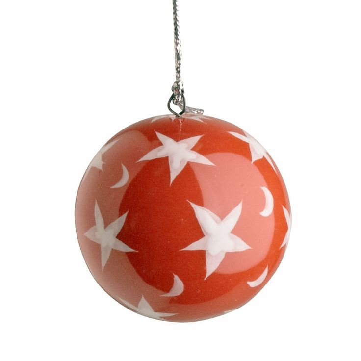 Red with White Stars Bright Holidays Christmas Tree Ornament Ball - Fair Trade - Craft Link, a nonprofit organization, works with Vietnamese artisans to generate income, with a focus on ethnic minorities, street children and artisans with disabilities.