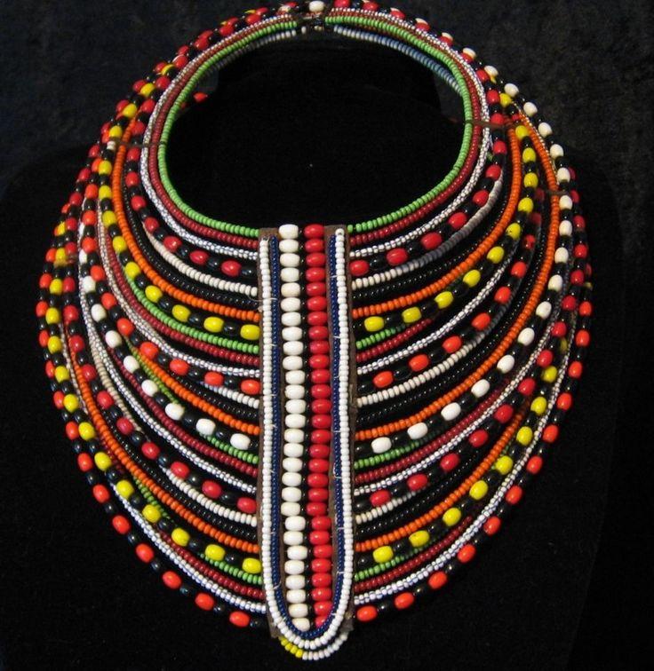 African Maasai Tribal Layered Necklace - Masai Mara, Kenya ...
