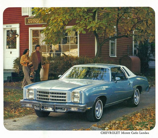 1976 Chevrolet Monte Carlo Landau Coupe. My grandma had just like this one but a little darker blue. Nice car!