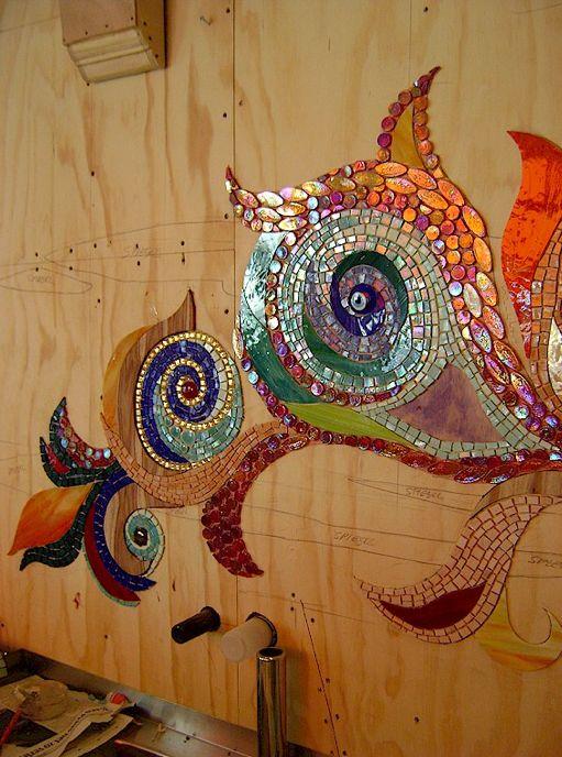 Abraxas, Amsterdam- Mosaic wood and tile coffee shop mural WIP..