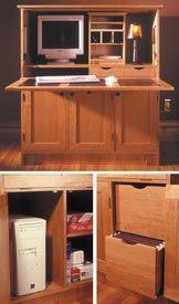 Home Office Hideaway Computer Desk Woodworking Plan, Furniture Desks