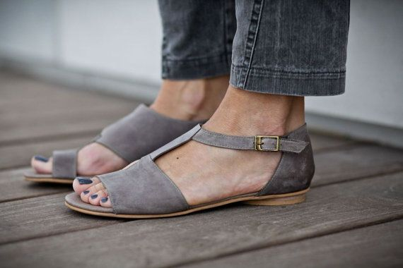 10 Sale Uma Grey Leather Sandals Grey Sandals Flat by abramey, $190.00