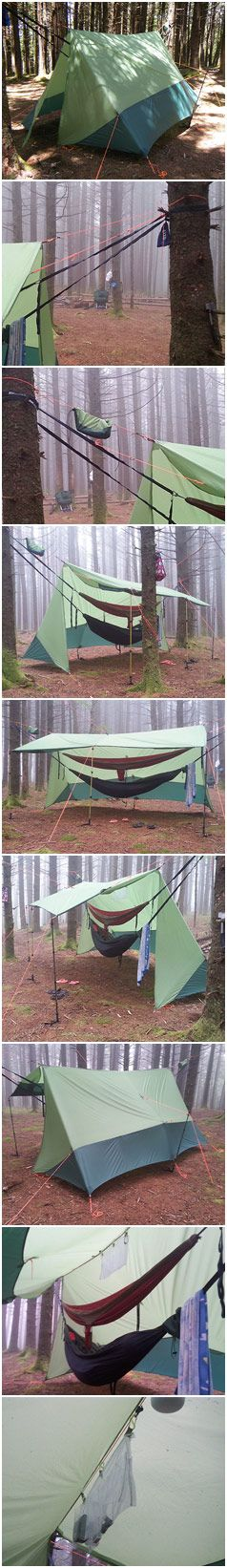 "Being a taller person (6'3"") I needed a diy hammock tarp that, 1) would set up quickly and easily especially in all seasons, 2) is at least 11' long when completely extended on the ridgeline so hammock ends are completely covered, 3) I can walk/stand under relatively easily, 4) I can stack 2 hammocks (possibly 3) under, 5) has decent side room, 6) can become a lean-to style tarp with considerable room underneath, 7) has a ridgeline organizer. So... I built Tim's Tarp."