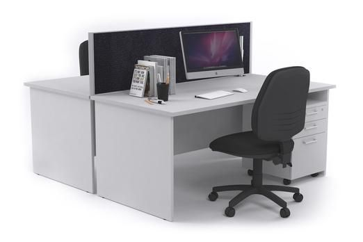 Litewall Panel 2 Person Ergonomic Workstation White Panel Legs. If you're wanting to save a bit of room in your office this simple panel workstation is your best bet. It will allow for collaboration between colleagues within the office, however, still provides some privacy with a screen of your choice separating the two workstations.