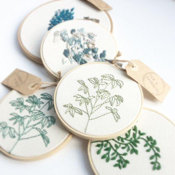 Houseplant Embroidery Hoop van SewandSaunders op Etsy