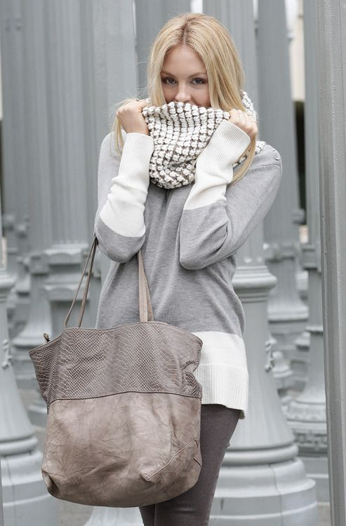 Greys + white. Love the scarf