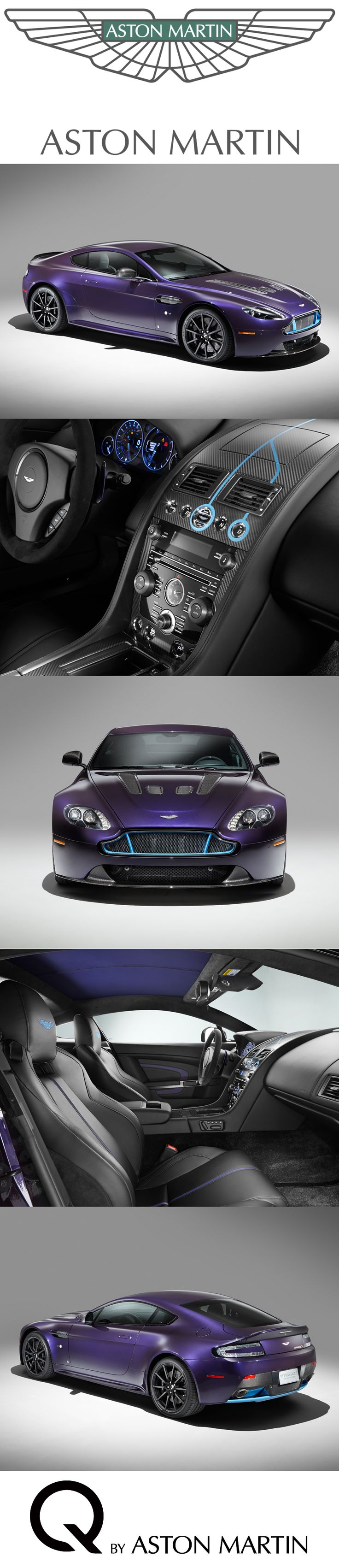 A bespoke commission to be showcased at Pebble Beach® Automotive Week 2014. This V12 Vantage S adopts a unique example of the colour and trim freedom offered through the Q service with its rich purple amethyst exterior paint punctuated with bright painted Monterey Pearl front grille and rear diffuser. Discover: http://www.astonmartin.com/en/q-by-aston-martin #AstonMartin #Cars