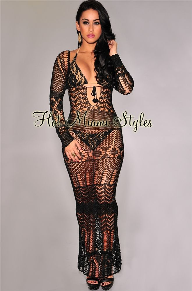e6a2e44f77 Black Silky Crochet Cover-Up Long Sleeves Maxi Dress | Beach Babe... | Maxi  dress with sleeves, Long sleeve maxi, Crochet cover up