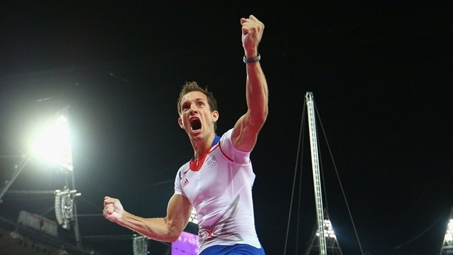 Renaud Lavillenie of France celebrates after a jump during the men's Pole Vault Final on Day 14 of the London 2012 Olympic Games at Olympic Stadium.