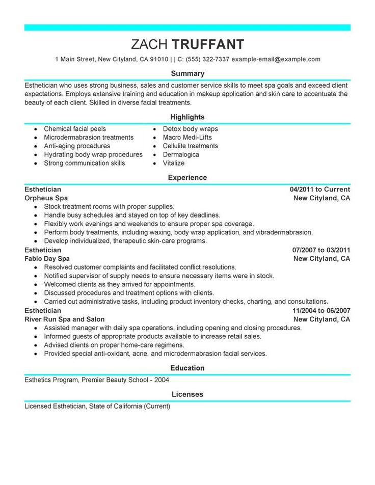 esthetician resume cover letter sample