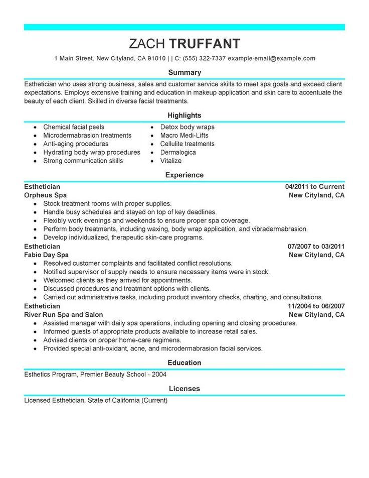 esthetician resume cover letter sample http www